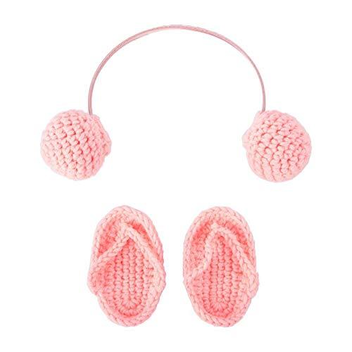 BigBig Style Neugeborene Requisiten Outfits für Fotografie Mini gestrickte Hausschuhe mit Kopfhörer