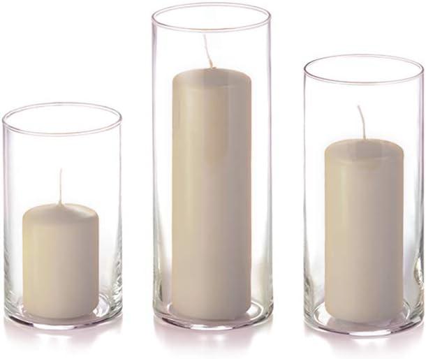 yummi Set of New life 12 Slim trust Pillar Vases - Cylinder Sandsto Candles and