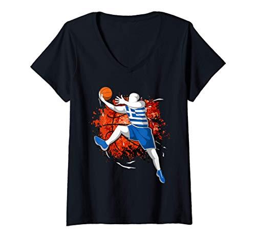 Mujer Baloncesto de Grecia - Bandera Nacional Griega Sport Lovers Camiseta Cuello V