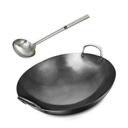 XH&XH Wok de Hierro Fundido binaural Profesional, sartén Antiadherente para el hogar, Utensilios de Cocina Hechos a Mano, 40 cm, 73 cm para Estufa de Gas, 66 cm