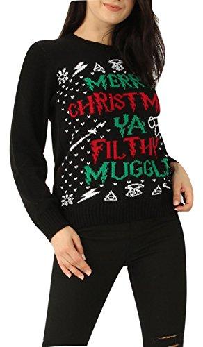 Momo&Ayat Fashions Ladies Mens Merry Christmas You Filthy Muggle Xmas Jumper US Size 4-14 (Medium (US 8-10), Black)