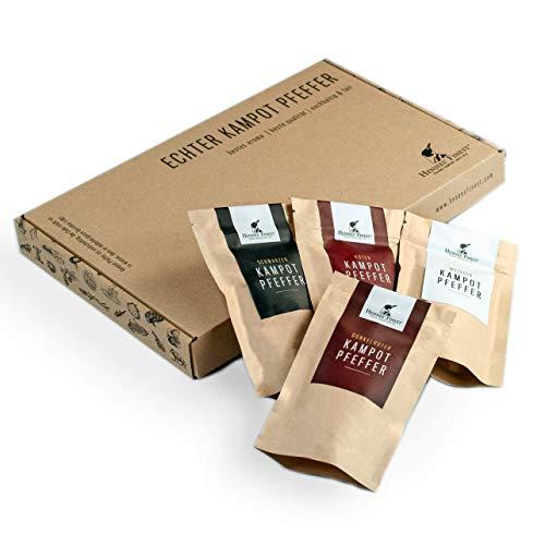 Hennes Finest Geschenkbox - Kampot Pfeffer Mischung (grober Pfeffer), mit 4 Pfeffer Sorten (schwarzer Pfeffer, weißer Pfeffer, roter Pfeffer, dunkelroter Pfeffer), Pfeffer grob, Pfefferkörner ganz