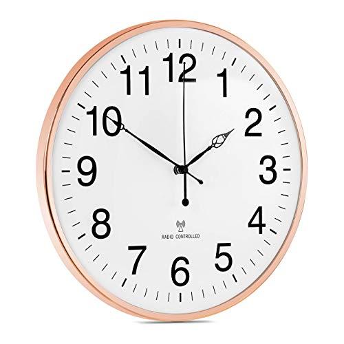 Uniprodo Orologio Da Parete Analogico Da Muro Temperatura Radiocontrollato UNI_CLOCK_09 (Ø 30 cm, Oro rosato)