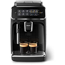 Philips 3200 series fully automatic espresso machine w/ milk frother, black, ep3221/44 2 enjoy 4 coffees at your fingertips, makes espresso, hot water, coffee, americano, espresso lungo intuitive touch display, frequency: 60 hertz adjust aroma strength and quantity