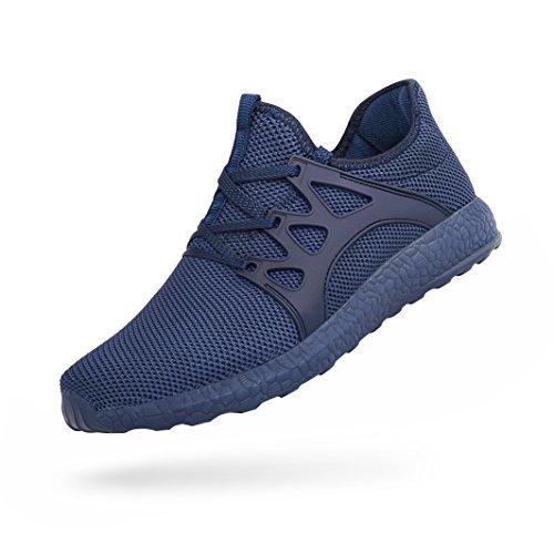 FiBiSonic Herren Damen Turnschuhe rutschfeste shuhe Atmungsaktiv Sneaker Leichtgewichts Laufschuhe für Running Fitness Gym Outdoor Walkingschuhe Blau 45