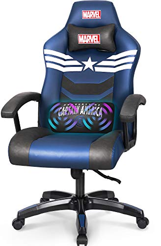 Marvel Avengers Gaming Chair Massage Office High Back Computer PU Leather Desk Chair PC Racing Executive Ergonomic Adjustable Swivel Task Chair Headrest and Lumbar Support (Captain America, Blue)