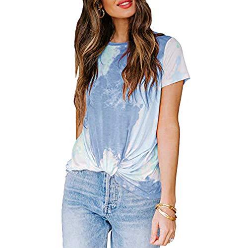 DREAMING-Sommer Wilde Damenoberteile, Rundhalsausschnitt T-Shirt Mit Geknotetem Print Blau 5XL