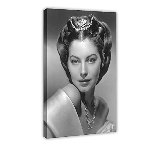 Vintage Beauty Poster Ava Lavinia Gardner 19 Leinwand Poster Wandkunst Dekor Druck Bild Gemälde für Wohnzimmer Schlafzimmer Dekoration Rahmen: 60 x 90 cm