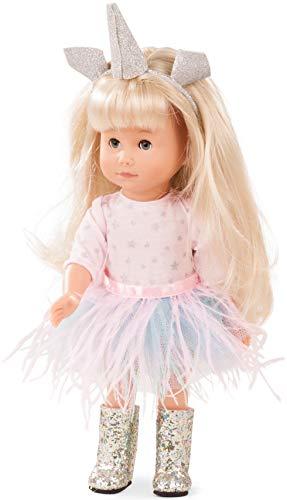Götz 1813032 Just Like me - Mia als Einhorn Puppe - 27 cm große Stehpuppe mit extra Langen blonden Haaren, blauen Schlafaugen in einem 7-teiligen Set