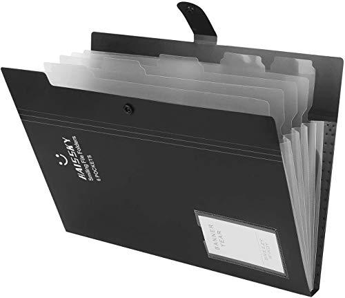 HAISSKY Aktenordner mit Visitenkartenhalter 6 Taschen, A4 Briefgröße 300 Blatt Große Kapazität Dokumentenmappe Snap Type Dokumentenhalter Schreibwaren Papier Organizer für Schule und Büro