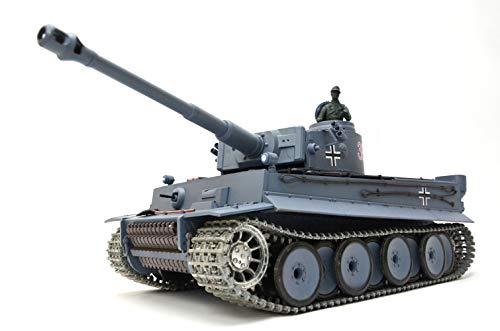 ES-TOYS RC Panzer Ferngesteuert mit Schussfunktion German Tiger I Heng Long 1:16 Rauch&Sound +Stahlgetriebe+Metallketten+Metall Räder+ 2,4Ghz -V6.0 PRO
