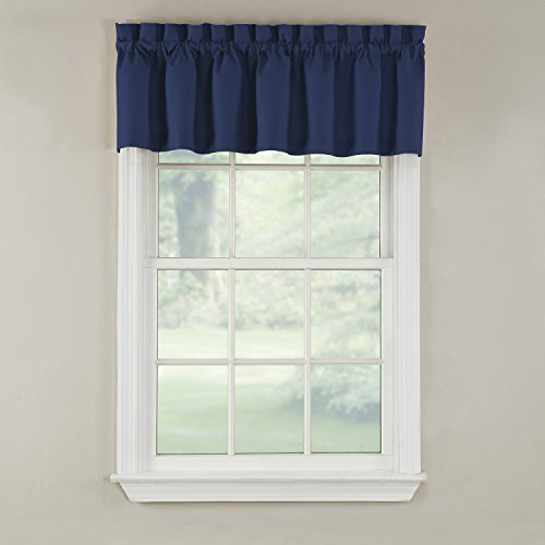 GPD Newport 60-inch x 12 inch Rod Pocket Valance Window Curtain, Navy
