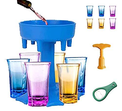 ZINE Dispensador y soporte de vidrio para chupito, dispensador de chupito, dispensador para botellas y sacacorchos de vino, color azul