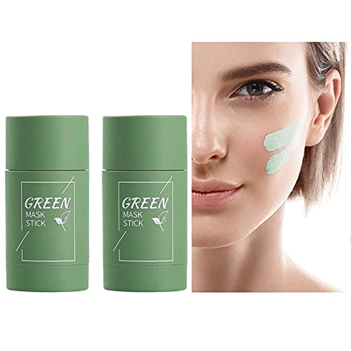 Detox Face Mask, PORIEfy Clear, Pink Purifying Clay Stick Mask, Blackhead Remover Peel Off Mask - Anti Ageing Vitamin, Get New Skin (2PCS Green tea)