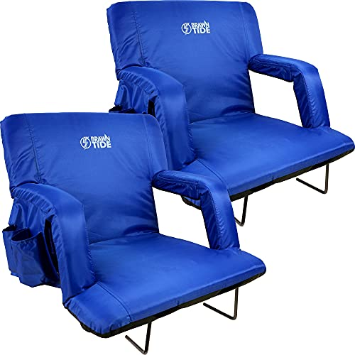 Brawntide Stadium Seat with Back Support - 2 Pack, Extra Wide, Thick Padding, Reclining Back, Bleacher Strap, 4 Pockets, Ideal Stadium Chair for Sport Events, Camping, Concerts (Blue, Regular Size)