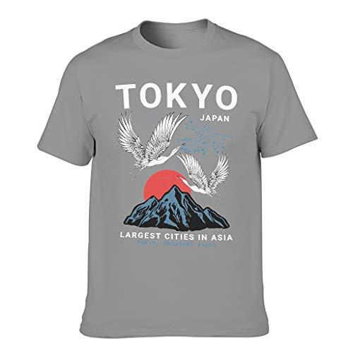 Ballbollbll Camiseta japonesa de Tokio Nagasaki Crane para los hombres O cuello de 100% algodón casual para los hombres camiseta corta