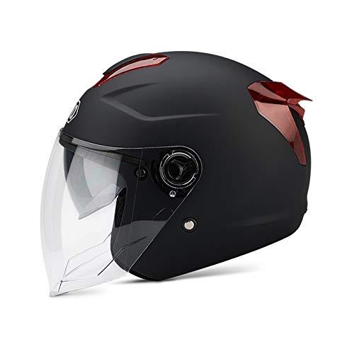 casco scooter integrale omologato BOSEMAN Caschi da Moto per Adulti con Visiera. Casco Alla Moda per Biciclette Cruiser Scooter ATV Supera il Test di Collisione per Soddisfare la Sicurezza Stradale(Nero opaco)