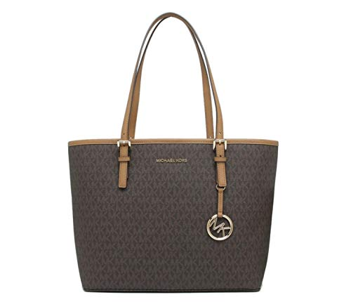MICHAEL KORS JET SET TRAVEL MEDIUM CARRYALL PVC TOTE BAG IN BROWN