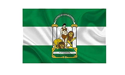 YOUBO®Bandera de ANDALUCÍA 145x90cm - Bandera ANDALUZA 90 x 145cm