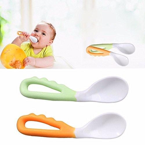 EROSPA® Baby Brei-Löffel Lernlöffel - Gebogener Griff - Essen Lernen - 2 Stück - Grün/Orange