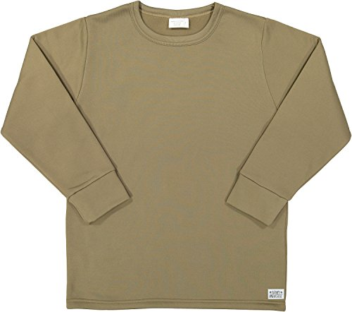 Coyote Brown AR 670-1 Compliant ECWCS Thermal Military Undershirt Crew Neck Top with Pin (Chest 42-44) L