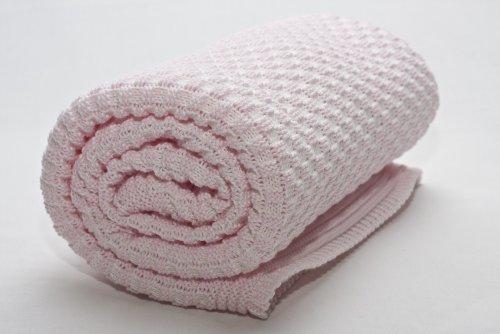 Sonnenstrick SODE3 Erstlingsdecke/Babydecke/Kuscheldecke/Strickdecke aus 100% Bio Baumwolle kba 80 x 80 cm rosa weiss
