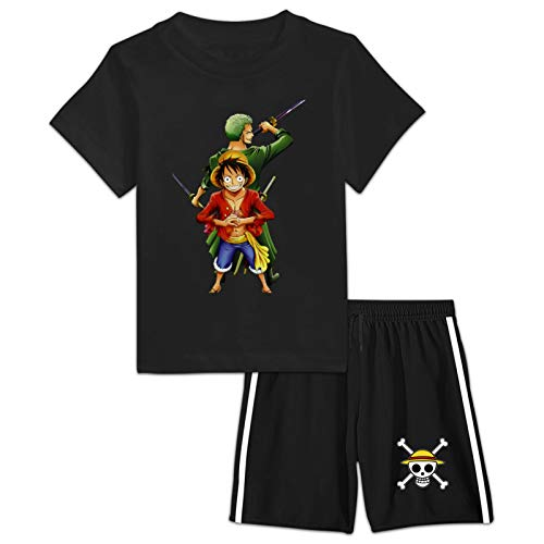 DIYOOD Youth Anime O-ne P-iec-e T-Shirt Shorts Suit,Boys Girls 2 Pieces Active Athletic Tracksuit Outfits Small Black