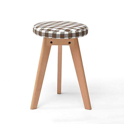 WRISCG Taburete redondo de madera maciza nórdica, diseño creativo de color sólido, para el hogar, mesa de comedor, taburete de maquillaje extraíble, lavable, apilable (color: estilo)
