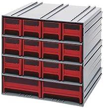 خزانة تخزين رمادية متشابكة QIC-12123RD مع 14 درج أحمر، 29.38 سم × 29.34 سم × 27.94 سم × 27.94 سم من كوانتم