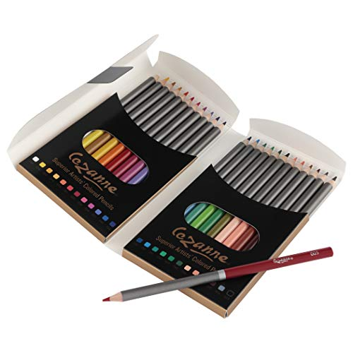 Cezanne Professional Colored Pencil Set of 24 Colors Artist Quality Soft Core Blendable Lead for Drawing Coloring Sketching