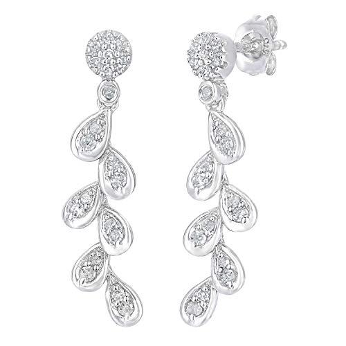 Naava Women's 9ct White Gold Diamond Leaf Drop Earrings