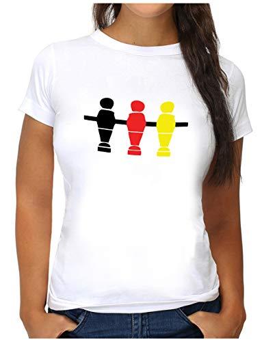 OM3® Deutschland T-Shirt   Damen   Fussball Kicker Tischkicker   S, Weiß
