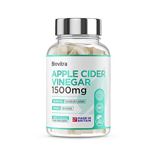 BioVitra Apple Cider Vinegar Food Supplement, High Strength UK Made Apple Cider Vinegar Tablets, 365 Tablets
