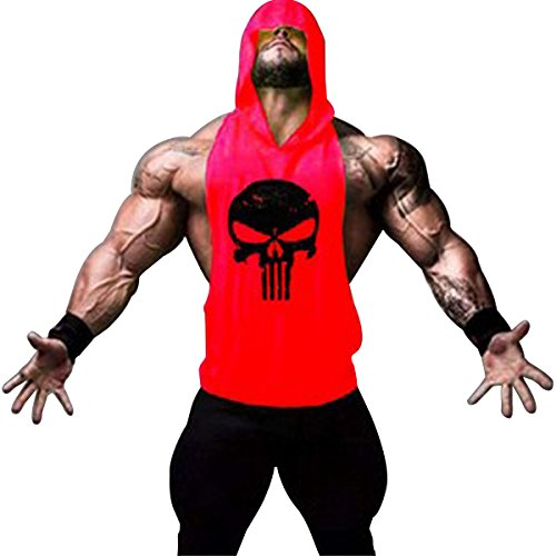 Mens Skull Print Stringer Bodybuilding Gym Tank Tops Workout Fitness Vest with Hoodie (Red, Large)