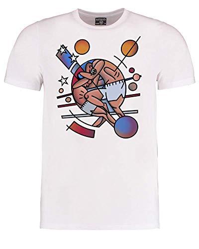 FatCuckoo- Cubist Picasso Style MMA Fight Stars and Stripes - Herren T-Shirt Gr. 46 DE/48 DE S, weiß