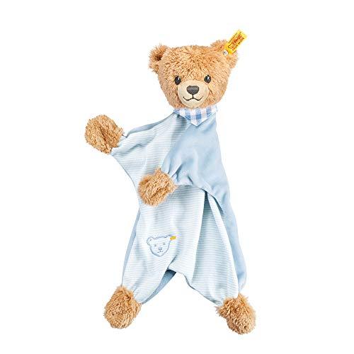 Steiff Schlaf Gut Bär Schmusetuch - 30 cm - Kuscheltuch Teddybär - Schmusetier für Babys - beige/blau (239588)