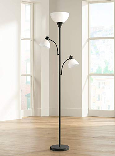 Bingham Modern Torchiere Floor Lamp 3-Light Tree Black Metal White Shades for Living Room Reading Bedroom Office Uplight - 360 Lighting
