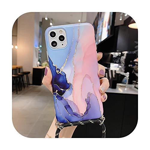 Funda para iPhone 11 Pro XR XS Max 7 8 Plus de cuerpo completo suave IMD con textura de mármol y textura para colgar