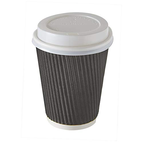 100 X 12oz Disposable Kraft Paper Cups Black for Hot and Cold Drinks, Triple Walled Ripple Cups + 100 Lids for Free Disposable Tableware