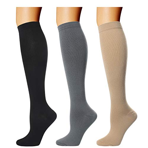 3 Pairs Compression Socks for Women Men 20-30mmhg Graduated Knee High Compression Stocking for Running Nurses Travel