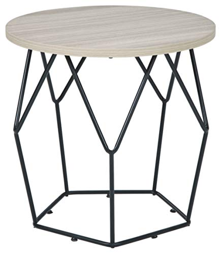 Signature Design by Ashley Waylowe Round End Table, Light Brown/Black