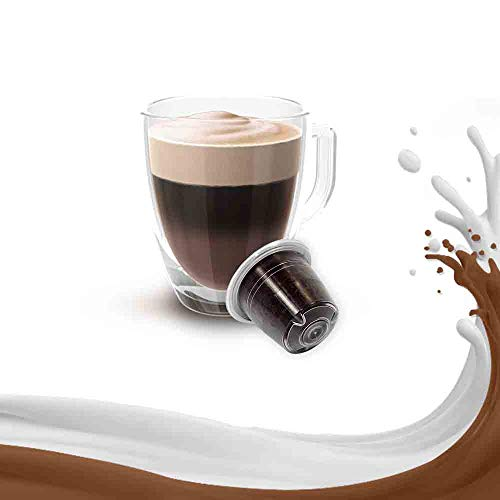 Kickkick Capsule Mocaccino Compatibili Nespresso (50PZ) Made in Italy Cialde Mokaccino Aromatizzate al Caffè Solubile Cioccolato Latte Compatibili con Macchina Caffè Nespresso