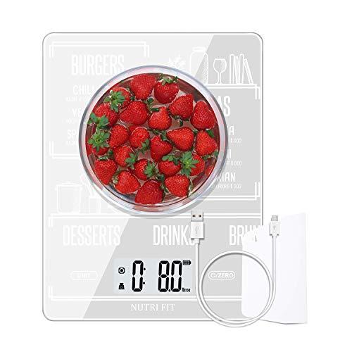 NUTRI FIT Báscula de Cocina Digital Multifuncional Recargable para Alimentos,con raspador de...