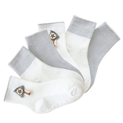 VWU Lot de 5 Paires Unisexe Bebes Infant Chaud et épais Chaussons Chaussettes de Manchette Camaïeu Rayées Nouveau-Nés Bébé Chaussettes en Coton (0-6 mois, Gris) (Gris, 1-3 ans)