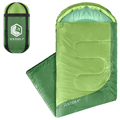 Summer Sleeping Bag, Single, Regular Size - Lightweight, Comfortable, Water Resistant Backpacking Sleeping Bag for Adults & Kids - Ideal for Hiking, Camping & Outdoor Adventures – Green/Green
