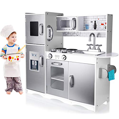 Tusy Kids Kitchen Playset Play Kitchen For Toddlers Kids Play Kitchen Set With Ice Maker And Removable Sink Silver Buy Online In Montenegro At Montenegro Desertcart Com Productid 146539308