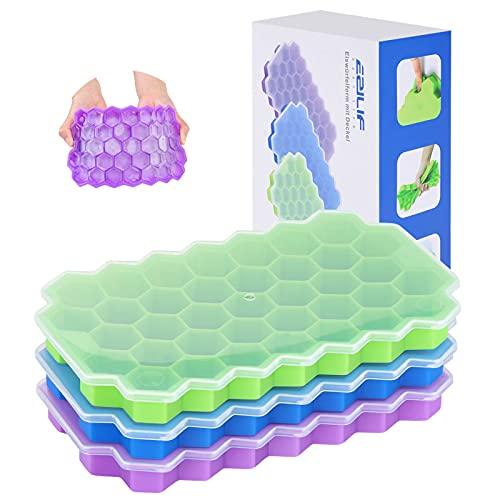 EZILIF Eiswürfelform Silikon, 3 Stück Eiswürfelbehälter mit Deckel Umgekehrte Schnallendesign Versiegelung Ice Cube Tray, BPA-frei, 37-Fach, Grün/Blau /Lila