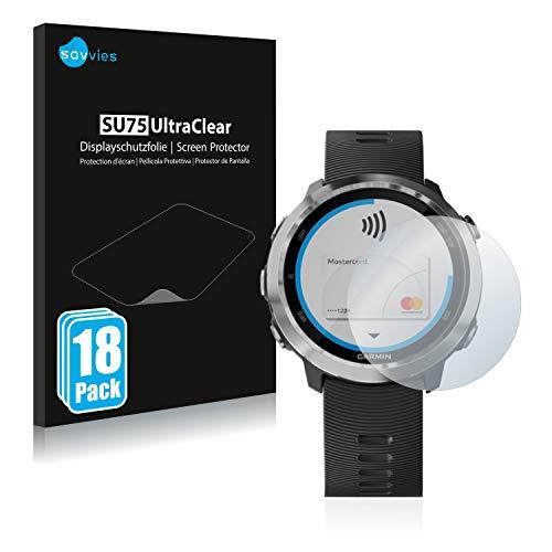Savvies 18x Schutzfolie kompatibel mit Garmin Forerunner 645 Bildschirmschutz-Folie Ultra-transparent
