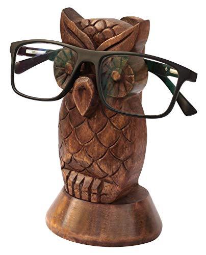 Sharvgun 5,5 Zoll Brillenhalter Eule Form Premium-Qualität aus Holz Brillenständer handgefertigte Anzeige optische Gläser Zubehör