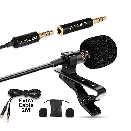 MOSOTECH Microfono Solapa, Omnidireccional Lavalier Microfono de...